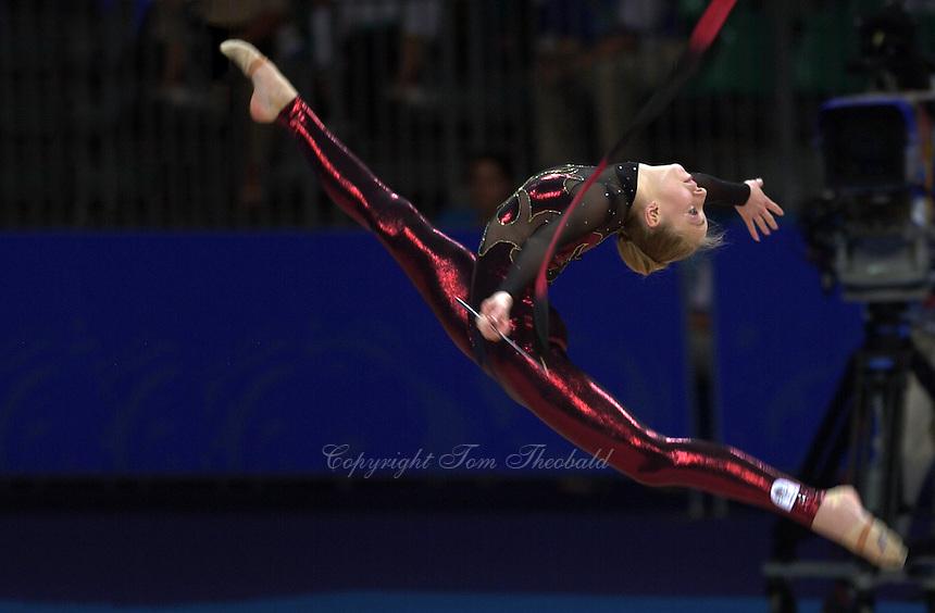 Sep 29, 2000; SYDNEY, AUSTRALIA:<br /> DANI LERAY of Australia performs with ribbon during rhythmic gymnastics qualifying at 2000 Summer Olympics.