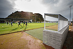 The dugouts are across from the solitary stand at Dumbarton's ground