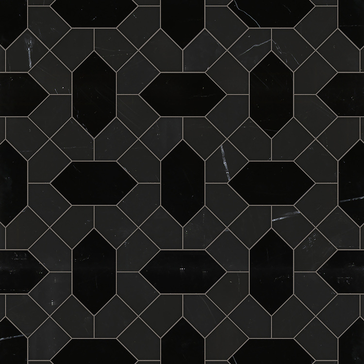 Winona, a waterjet stone mosaic, shown in polished Nero Marquina and honed Orpheus Black, is part of the Semplice® collection for New Ravenna.