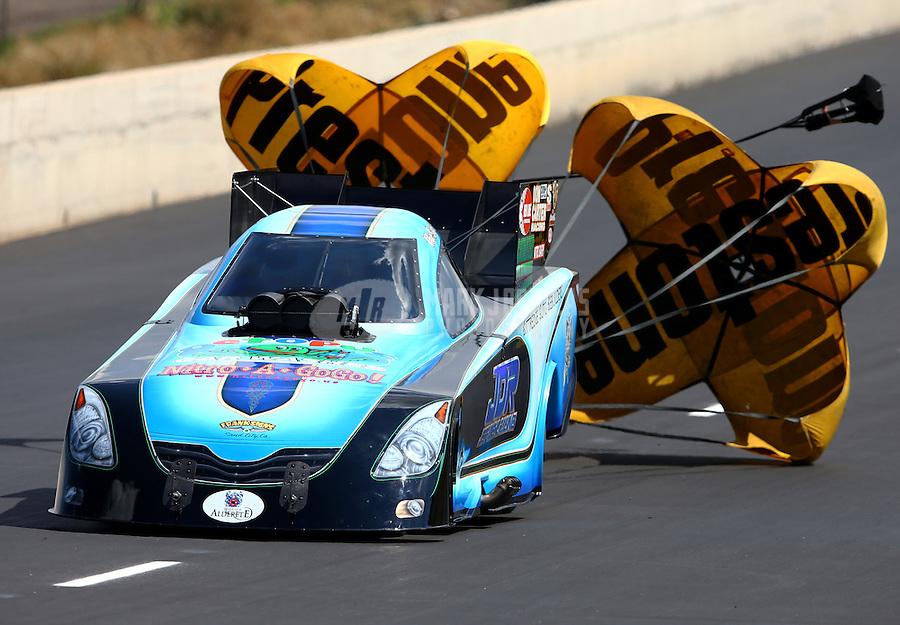 Jul. 20, 2013; Morrison, CO, USA: NHRA funny car driver Jeff Diehl during qualifying for the Mile High Nationals at Bandimere Speedway. Mandatory Credit: Mark J. Rebilas-