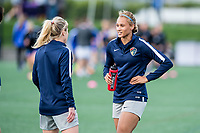 Boston, MA - Sunday May 07, 2017: McCall Zerboni and Lynn Williams prior to warmups before a regular season National Women's Soccer League (NWSL) match between the Boston Breakers and the North Carolina Courage at Jordan Field.
