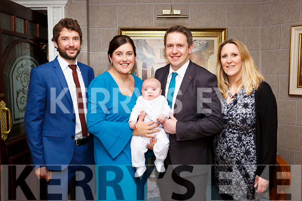 James Martin Baker celebrated his christening with his parents Michael Baker and Teresa Morris and god parents Patrick Morris and Lucy Peele in the Killarney Avenue Hotel on Saturday