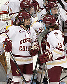 Kate Annese (BC - 24), Makenna Newkirk (BC - 19), Kali Flanagan (BC - 10) - The number one seeded Boston College Eagles defeated the eight seeded Merrimack College Warriors 1-0 to sweep their Hockey East quarterfinal series on Friday, February 24, 2017, at Kelley Rink in Conte Forum in Chestnut Hill, Massachusetts.The number one seeded Boston College Eagles defeated the eight seeded Merrimack College Warriors 1-0 to sweep their Hockey East quarterfinal series on Friday, February 24, 2017, at Kelley Rink in Conte Forum in Chestnut Hill, Massachusetts.