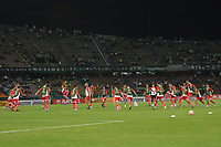 MEDELLIN - COLOMBIA, 05-02-2020: Jugadores del Huracán calientan previo al partido entre Atlético Nacional de Colombia y Huracán de Argentina por la primera fase, ida, de la Copa CONMEBOL Sudamericana 2020 jugado en el estadio Atanasio Girardot de la ciudad de Medellín. / Players of Huracan warm up prior a match between Atletico Nacional of Colombia and Huracan of Argentina for the first phase as part of Copa CONMEBOL Sudamericana 2020 played at Atanasio Girardot stadium of Medellin city. Photo: VizzorImage / Leon Monsalve / Cont