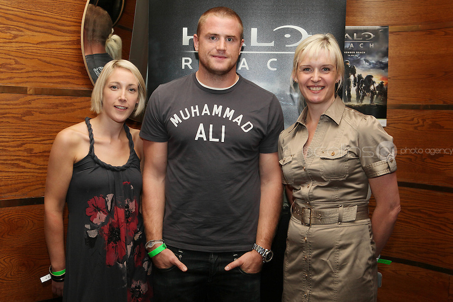 NO REPRO FEE. 14/9/2010. launch of Halo: Reach. Pictured at the Odeon Dublin for the launch of Halo: Reach are Ide O Brien, Jamie Heaslip and Jackie Brannigan. Halo: Reach tells the tragic and heroic story of Noble Team, a group of Spartans, who through great sacrifice and courage, saved countless lives in the face of impossible odds. Picture James Horan/Collins Photos