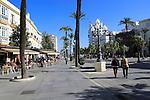 People and street cafes in Plaza de San Juan de Dios, Cadiz, Spain