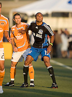 22 May 2008: Ryan Johnson of the Earthquakes and Wade Barrett of the Dynamo are competing for a fly ball during the game at Buck Shaw Stadium in San Jose, California.   San Jose Earthquakes defeated Houston Dynamo, 2-1.