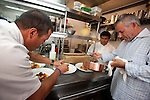 Chef Raphael Lunetta and his staff in the kitchen at JiRaffe Restaurant, Santa Monica, CA