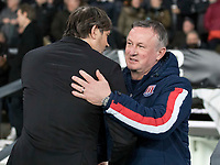31st January 2020; Pride Park, Derby, East Midlands; English Championship Football, Derby County versus Stoke City; The Manager of Derby County Phillip Cocu welcome Stoke City Manager Michael O'Neill in the team dug out before the kick off  - Strictly Editorial Use Only. No use with unauthorized audio, video, data, fixture lists, club/league logos or 'live' services. Online in-match use limited to 120 images, no video emulation. No use in betting, games or single club/league/player publications