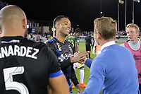 San Jose, CA - Saturday September 30, 2017: Danny Hoesen, Chris Leitch during a Major League Soccer (MLS) match between the San Jose Earthquakes and the Portland Timbers at Avaya Stadium.