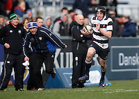 11 March 2013; Adam McCallum races clear during the Medallion Shield Final between Wallace High School and Campbell College at Ravenhill, Belfast, DICKSONDIGITAL