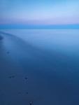 Calm tranquil twilight scenery of lake Huron, Ontario, Canada.