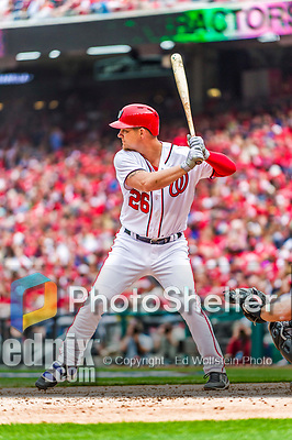 3 April 2017: Washington Nationals outfielder Adam Lind in action against the Miami Marlins on Opening Day at Nationals Park in Washington, DC. The Nationals defeated the Marlins 4-2 to open the 2017 MLB Season. Mandatory Credit: Ed Wolfstein Photo *** RAW (NEF) Image File Available ***