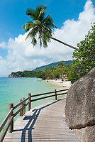 Boardwalk near lighthouse on Leela beach, Phangan island, Thailand