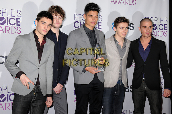 The Wanted - Tom Parker, Jay McGuiness, Siva Kaneswaran, Nathan Sykes & Max George.People's Choice Awards 2013 - Press Room held at Nokia Theatre L.A. Live, Los Angeles, California, USA..January 9th, 2013.half length black grey gray blue shirt suit jacket band group award trophy winner.CAP/ADM/BP.©Byron Purvis/AdMedia/Capital Pictures.