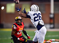 College Park, MD - NOV 25, 2017: Penn State Nittany Lions running back Saquon Barkley (26) catches a swing pass during game between Maryland and Penn State at Capital One Field at Maryland Stadium in College Park, MD. (Photo by Phil Peters/Media Images International)