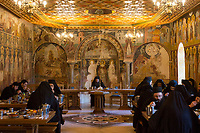 Mount Athos - The Holy Mountain.<br /> Monks eat in silence in the refectory of Pantokratoros. <br /> <br /> Photographer: Rick Findler