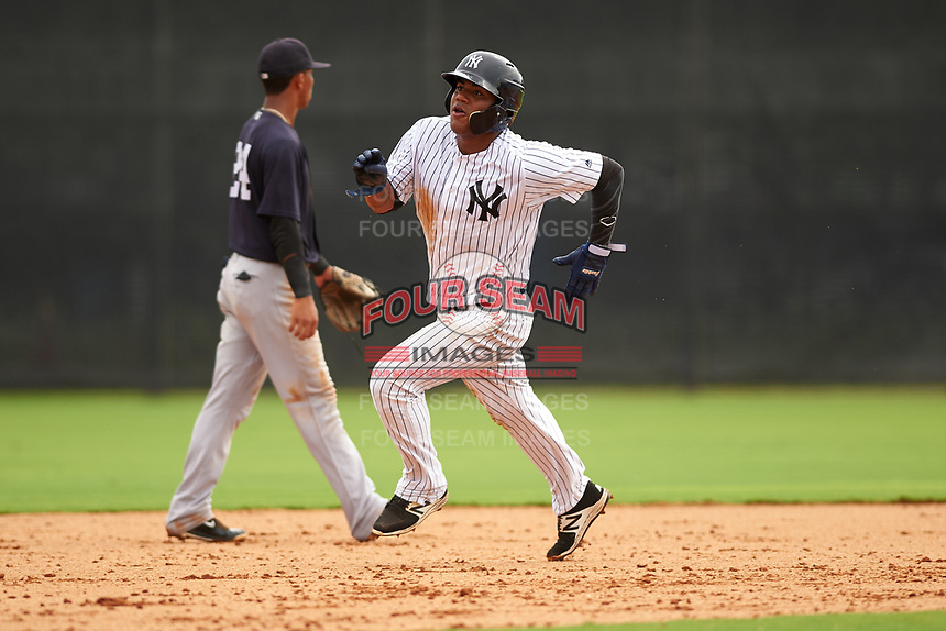 GCL Yankees East right fielder Jonathan Amundaray (60) running the bases during the first game of a doubleheader against the GCL Yankees West on July 19, 2017 at the Yankees Minor League Complex in Tampa, Florida.  GCL Yankees West defeated the GCL Yankees East 11-2.  (Mike Janes/Four Seam Images)