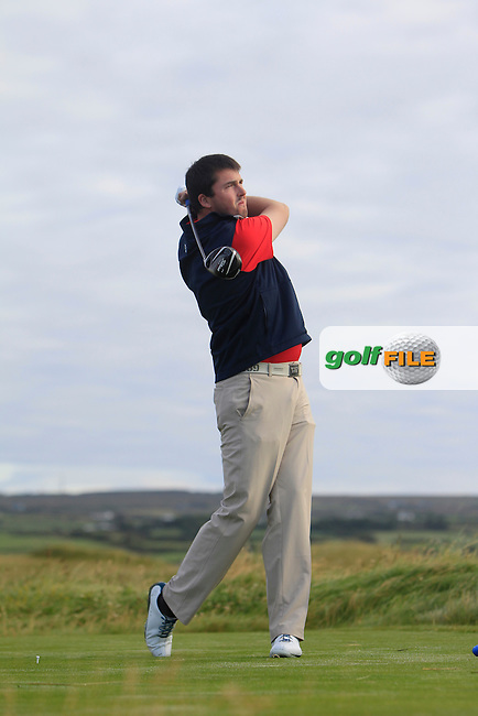 Steffan O'Hara (Co. Sligo) on the 2nd tee during Matchplay Round 1 of the South of Ireland Amateur Open Championship at LaHinch Golf Club on Friday 24th July 2015.<br /> Picture:  Golffile | Thos Caffrey