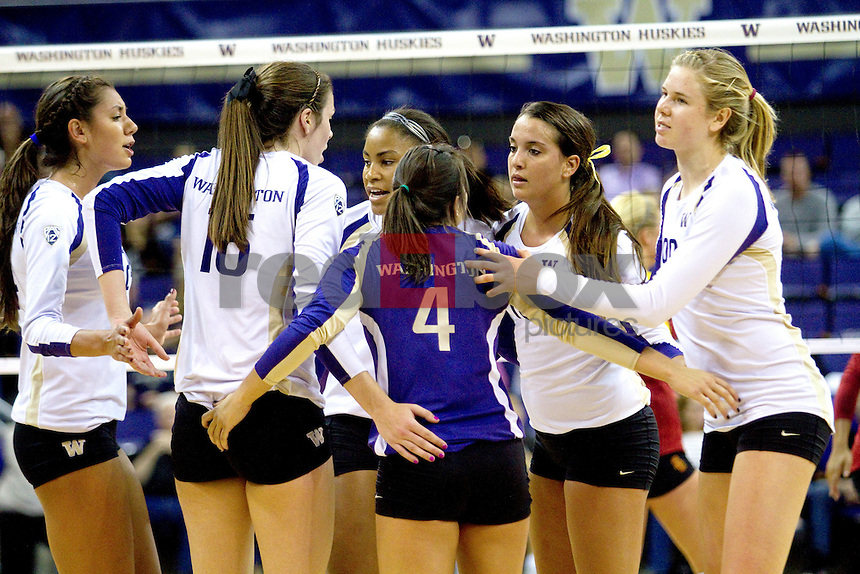 Kylin Muñoz, Krista Vansant, Bianca Rowland, Evan Sanders, Summer Ross, Jenna Orlandini  The University of Washington women's volleyball team plays USC Trojans at Alaska Airlines Arena at the University of Washington in Seattle on Friday September 16, 2011. (Photography By Scott Eklund/Red Box Pictures)