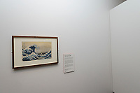 "Hokusai's Great Wave on display in the British Museum, London, UK, June 21, 2017. ""Hokusai: beyond the Great Wave"" was an exhibition of the works of the ukiyoe woodblock print artist Katsushika Hokusai (1760-1849), held at the British Museum in London from 25 May to 13 August 2017. It focused on works from the last 30 years of the artist's life."