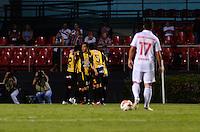 SÃO PAULO, SP, 28 DE FEVEREIRO DE 2013 - TAÇA LIBERTADORES DA AMÉRICA - SÃO PAULO x THE STRONGEST: Jogadores do Strongest comemoram gol de Marco Barrera durante partida São Paulo x The Strongest, válida pela 2ª rodada do grupo 3 da Taça Libertadores da América de 2013, disputada no estádio do Morumbi em São Paulo. FOTO: LEVI BIANCO - BRAZIL PHOTO PRESS