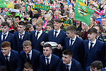 18-1-2017: Four goal hero, Team Captain and Man of the Match, David Clifford with his team and mentors and the Tommy Markem Cup at Fitzgerald Stadium Killarney when the team received a hero's welcome at the homecoming on Monday evening.<br /> Photo: Don MacMonagle