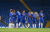 Kurt Zouma of Chelsea celebrates his penalty during the The Checkatrade Trophy match between Chelsea U23 and Oxford United at Stamford Bridge, London, England on 8 November 2016. Photo by Andy Rowland.