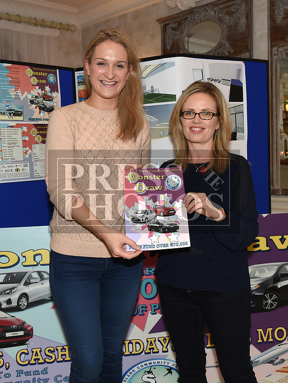 Slane Community Centre Chairperson Maeve Carbin and Minister for State for European Affairs Helen McEntee at the launch of their monster draw in the Conyngham Arms hotel. Photo:Colin Bell/pressphotos.ie