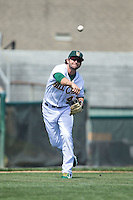 Lynchburg Hillcats third baseman Paul Hendrix (4) makes a throw to first base against the Frederick Keys at Calvin Falwell Field at Lynchburg City Stadium on May 14, 2015 in Lynchburg, Virginia.  The Hillcats defeated the Keys 6-3.  (Brian Westerholt/Four Seam Images)