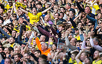 Oxford United Supporters celebrate there teams goal during the The Checkatrade Trophy / EFL Trophy FINAL match between Oxford United and Coventry City at Wembley Stadium, London, England on 2 April 2017. Photo by Andy Rowland.