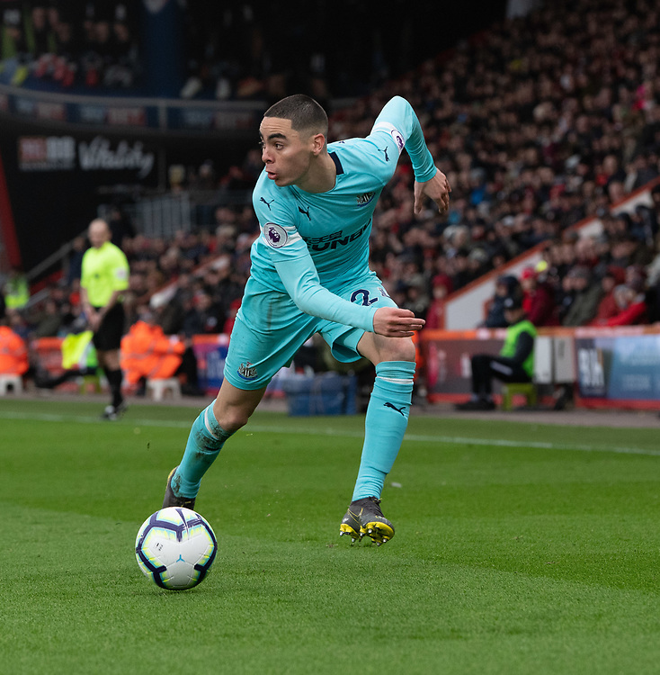 Newcastle United's Miguel Almiron <br /> <br /> Photographer David Horton/CameraSport<br /> <br /> The Premier League - Bournemouth v Newcastle United - Saturday 16th March 2019 - Vitality Stadium - Bournemouth<br /> <br /> World Copyright © 2019 CameraSport. All rights reserved. 43 Linden Ave. Countesthorpe. Leicester. England. LE8 5PG - Tel: +44 (0) 116 277 4147 - admin@camerasport.com - www.camerasport.com