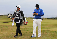 Merrick Bremner (RSA) and his caddie on the 15th fairway during Round 4 of the 2015 Alfred Dunhill Links Championship at the Old Course in St. Andrews in Scotland on 4/10/15.<br /> Picture: Thos Caffrey | Golffile