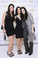 Graduating fashion designers (L-R) Megan Carlee, Dara N. Rosen, and Gianna Lucci at the Pratt 2011 fashion show and cocktail reception, honoring Hamish Bowles, April 27 2011.