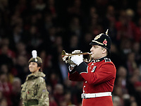 A bugler plays the last post to signal the end of the minutes silence<br /> <br /> Photographer Simon King/CameraSport<br /> <br /> International Rugby Union - 2017 Under Armour Series Autumn Internationals - Wales v Australia - Saturday 11th November 2017 - Principality Stadium - Cardiff<br /> <br /> World Copyright &copy; 2017 CameraSport. All rights reserved. 43 Linden Ave. Countesthorpe. Leicester. England. LE8 5PG - Tel: +44 (0) 116 277 4147 - admin@camerasport.com - www.camerasport.com