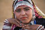 Portrait of Rajasthani Dancer in traditional saree in Thar Desert, Thar Desert, Rajasthan, India --- Model Released