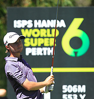 Austin Connelly (CAN) in action on the 11th during Round 3 of the ISPS Handa World Super 6 Perth at Lake Karrinyup Country Club on the Saturday 10th February 2018.<br /> Picture:  Thos Caffrey / www.golffile.ie<br /> <br /> All photo usage must carry mandatory copyright credit (&copy; Golffile | Thos Caffrey)