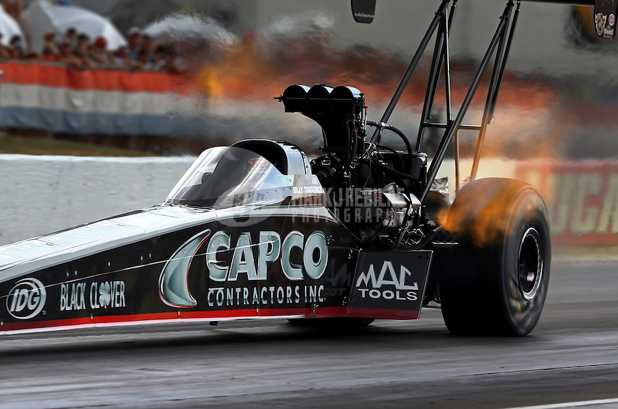 Aug. 31, 2013; Clermont, IN, USA: NHRA top fuel dragster driver Billy Torrence during qualifying for the US Nationals at Lucas Oil Raceway. Mandatory Credit: Mark J. Rebilas-