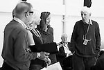 """King Lear"" rehearsed reading rehearsals. Old Vic Theatre. Director: Jonathan Miller. L to R: Michael York, Felicity Dean, Greta Scacchi, Robert Young, Jonathan Miller."