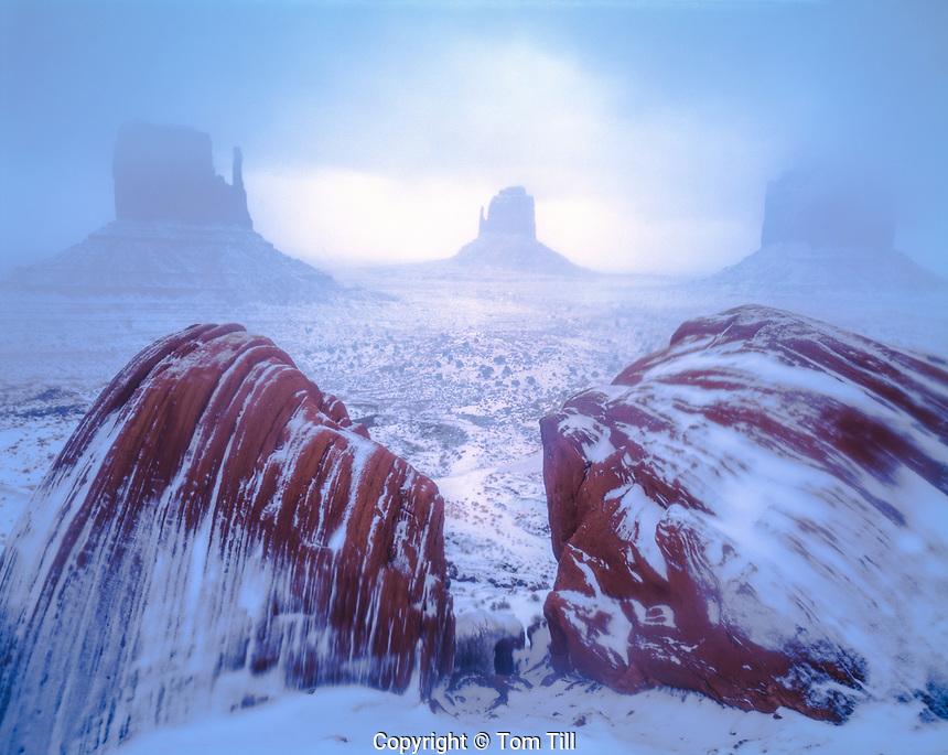 Fog & Snow at the Mittens, Monument Valley Tribal Park, Arizona  Navajo Reservation