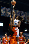 03 January 2016: North Carolina's N'Dea Bryant (22) and Clemson's Sirah Diarra (CAN) (20). The University of North Carolina Tar Heels hosted the Clemson University Tigers at Carmichael Arena in Chapel Hill, North Carolina in a 2015-16 NCAA Division I Women's Basketball game. UNC won the game 72-56.