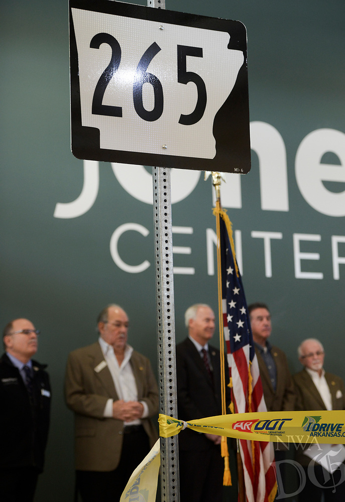 NWA Democrat-Gazette/CHARLIE KAIJO A 265 sign is shown during a ribbon cutting, January 4, 2019 at the Jones Center in Springdale. <br /><br />State highway and local officials held a ribbon cutting to mark the opening of a new section of Arkansas 265 that will carry traffic on the north-south corridor into downtown Rogers.