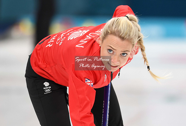 Anna Sloan (GBR). Womens Curling training. Pyeongchang2018 winter Olympics Gangneung curling centre. Gangneung. Republic of Korea. 12/02/2018. ~ MANDATORY CREDIT Garry Bowden/SIPPA - NO UNAUTHORISED USE - +44 7837 394578