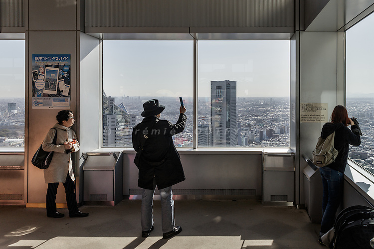 Tokyo, Japan, February 21 2017 - View over Tokyo from the 45th floor of the Tokyo Metropolitan Government Building.