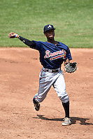 Jalen Miller (1) of Riverwood High School in Atlanta, Georgia playing for the Atlanta Braves scout team during the East Coast Pro Showcase on August 2, 2014 at NBT Bank Stadium in Syracuse, New York.  (Mike Janes/Four Seam Images)