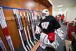 Wisconsin Badgers women's hockey stick room on move-in day at the LaBahn Arena Monday, October 1, 2012 in Madison, Wisc. (Photo by David Stluka)