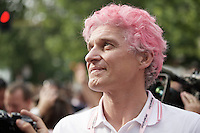 a proud (and pink) Tinkoff-Saxo Team owner Oleg Tinkov witnessing the podium ceremonies where  Alberto Contador is honoured as 2015 Giro d'Italia winner<br /> <br /> final stage 21: Torino - Milano (178km)