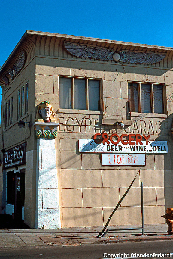 San Diego: Egyptian Garage, University Ave. at Euclid, c. 1920. (Photo 1990)