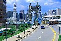 view from Covington Kentucky to Roebling Bridge over Ohio River to Cincinnati Ohio