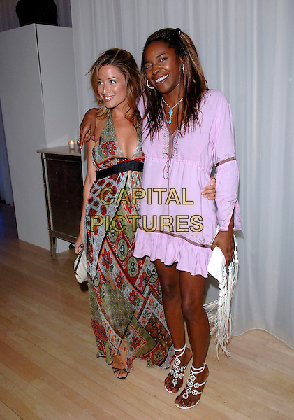 "REBECCA LOOS & SONIQUE.""Miami Vice"" afterparty at the Sanderson Hotel, London, UK..July 27th, 2006.Ref: FIN.after party full purple lilac dress green pattern .www.capitalpictures.com.sales@capitalpictures.com.©Steve Finn/Capital Pictures."